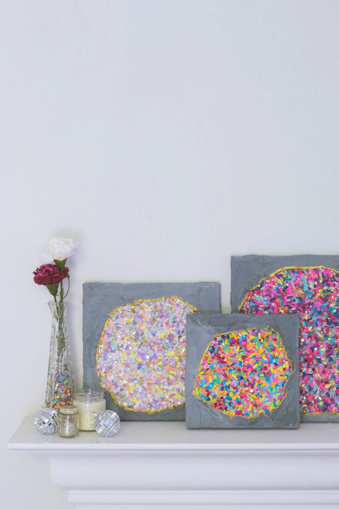 DIY Confetti Geode Wall Canvas