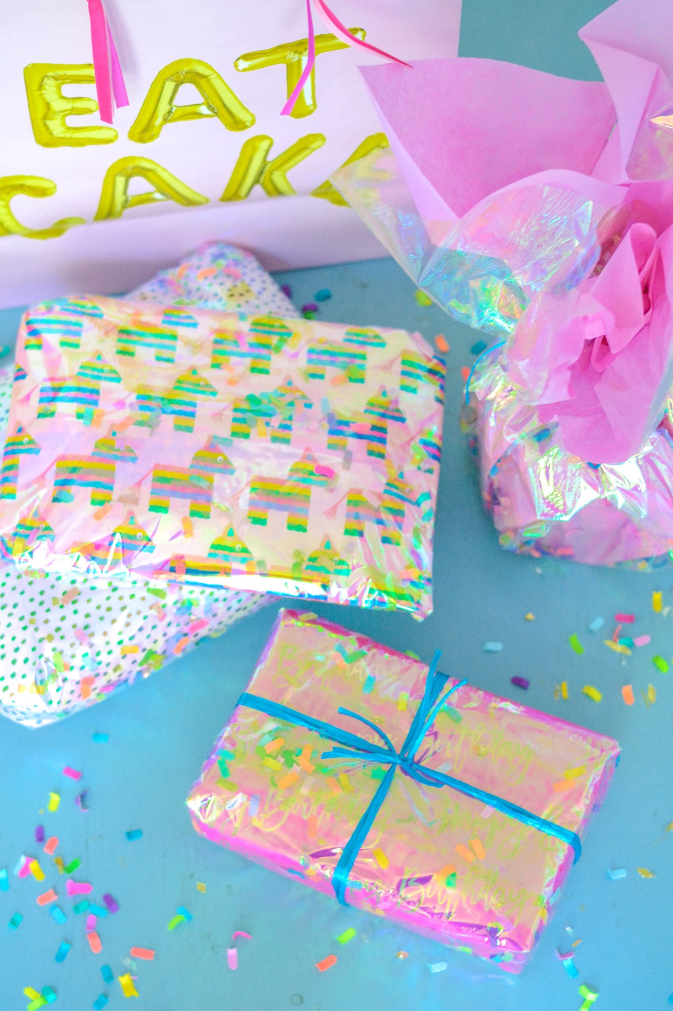 Super Easy Confetti Gift Wrap