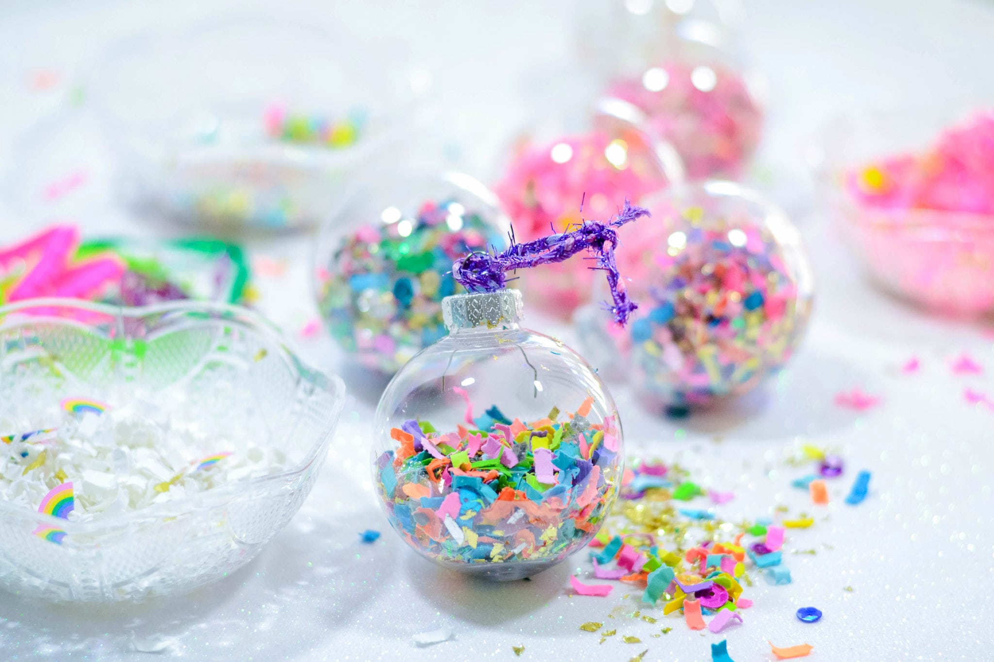 DIY Confetti Holiday Ornaments