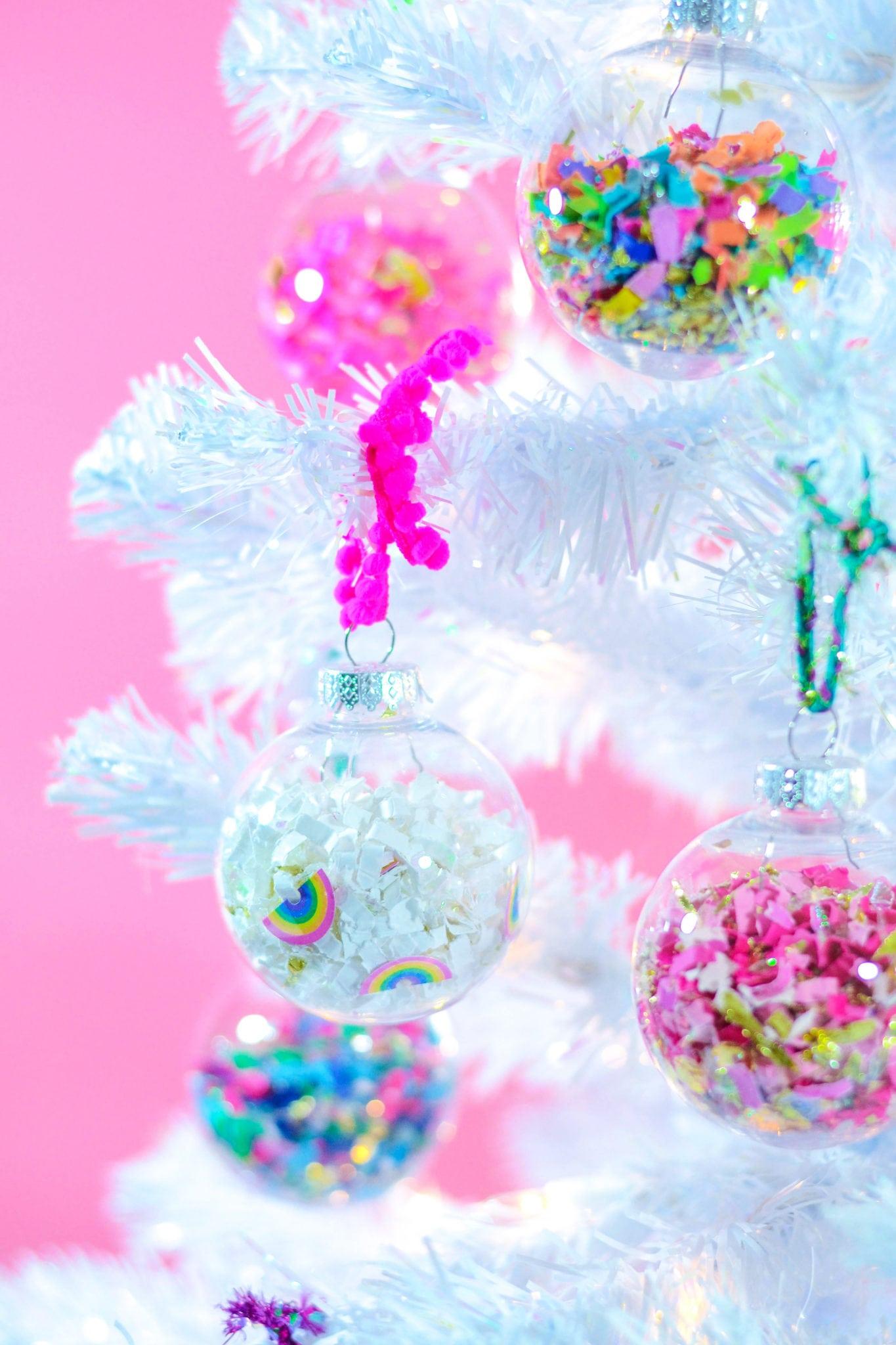 DIY Confetti Holiday Ornaments