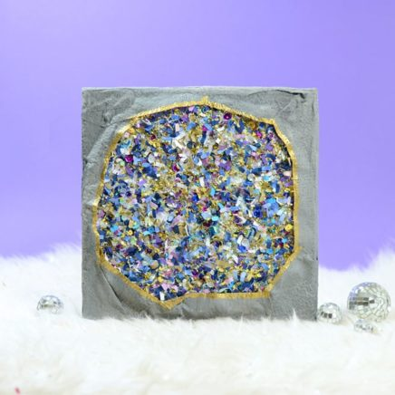 Original, one-of-a-kind confetti geode canvas artwork by Jessica Serra Huizenga