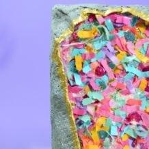 Original, one-of-a-kind confetti geode canvas artwork by Jessica Serra Huizenga